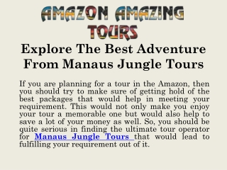 Explore The Best Adventure From Manaus Jungle Tours