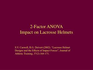 2-Factor ANOVA Impact on Lacrosse Helmets