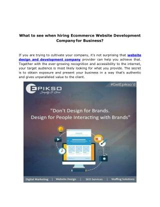 Website Design and Development Company   Ecommerce Website Design