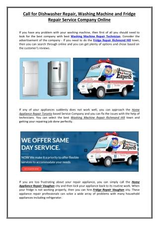 Call for Dishwasher Repair, Washing Machine and Fridge Repair Service Company Online
