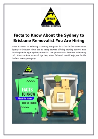 Facts to Know About the Sydney to Brisbane Removalist You Are Hiring