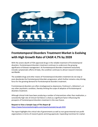 Frontotemporal Disorders Treatment Adoption to Surpass US$ 3 Billion in 2019