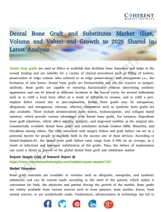 Dental Bone Graft and Substitutes Market (Size, Volume and Value) and Growth to 2025 Shared in Latest Analysis