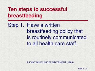 Ten steps to successful  breastfeeding