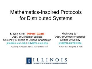Mathematics-Inspired Protocols for Distributed Systems