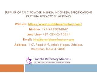 Supplier of Talc Powder in India Indonesia Specifications Pratibha Refractory Minerals
