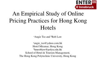 An Empirical Study of Online Pricing Practices for Hong Kong Hotels
