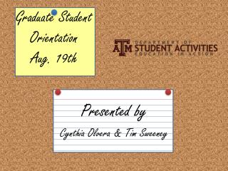Graduate Student  Orientation Aug. 19th
