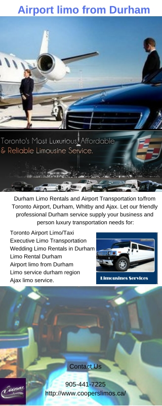 Airport limo from Durham | Coopers Limousines