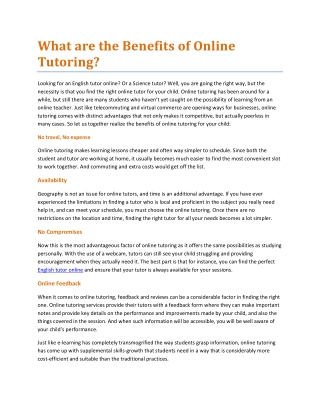 What are the Benefits of Online Tutoring