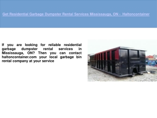 Garbage Dumpster Rental Mississauga