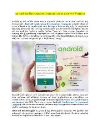 An Android Development Company Ahead with New Features