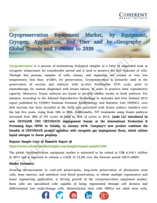 Cryopreservation Equipment Market, by Equipment, Cryogen, Application, End User and by Geography - Global Trends and For