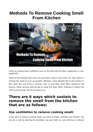 Methods to Remove Cooking Smell From Kitchen