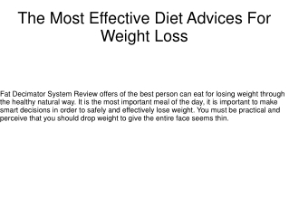 The Most Effective Diet Advices For Weight Loss