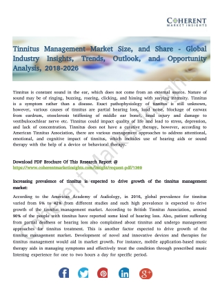 Tinnitus Management Market Size, and Share - Global Industry Insights, Trends, Outlook, and Opportunity Analysis, 2018-2