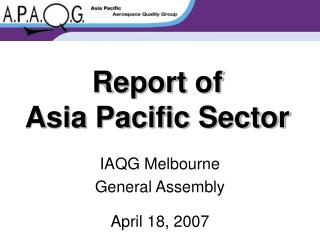 Report of Asia Pacific Sector