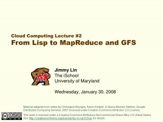 Jimmy Lin The iSchool University of Maryland Wednesday, January 30, 2008
