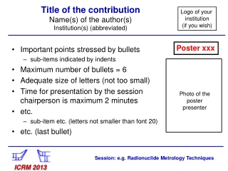 Title of the contribution Name(s) of the author(s) Institution(s) (abbreviated)