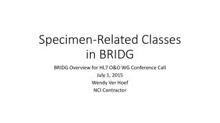 Specimen-Related Classes in BRIDG