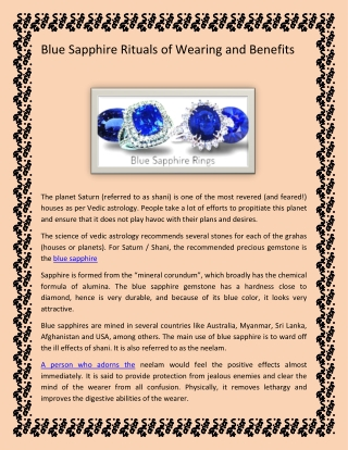 Blue Sapphire Rituals of Wearing and Benefits