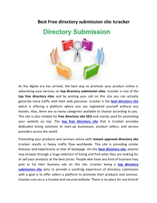 Best Free directory submission site Icracker