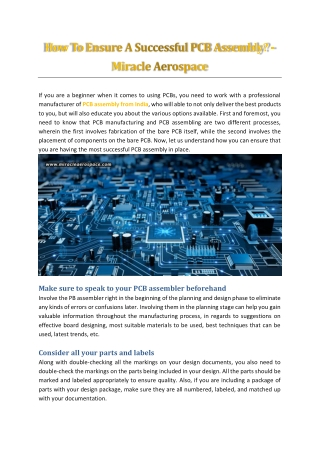 How To Ensure A Successful PCB Assembly? - Miracle Aerospace