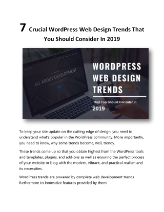 7 Crucial WordPress Web Design Trends That You Should Consider In 2019
