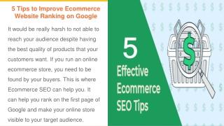 5 Tips to Improve Ecommerce Website Ranking on Google