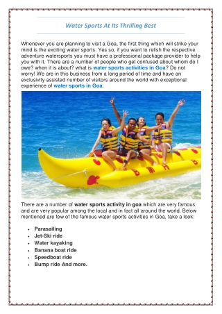 Best Water Sports in Goa | Water Sports Activities in Goa - Lets Go Goa
