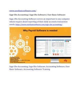 Sage Ubs Accounting | Sage Ubs Software