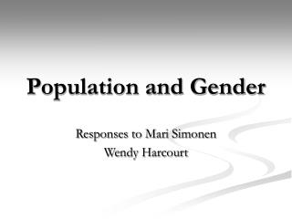 Population and Gender