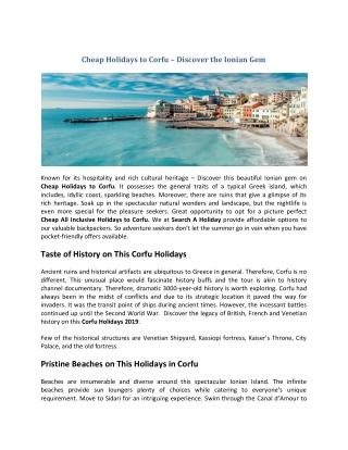 Cheap Holidays to Corfu   Corfu Holidays 2019