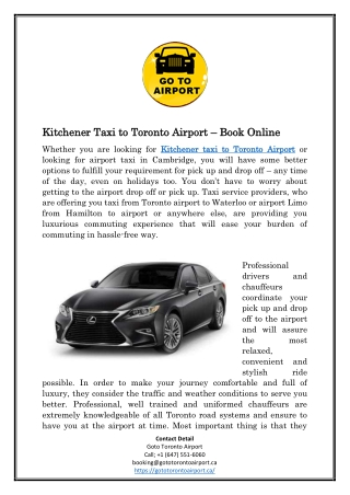 Kitchener Taxi to Toronto Airport – Book Online