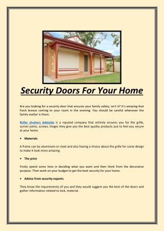 Security Doors For Your Home