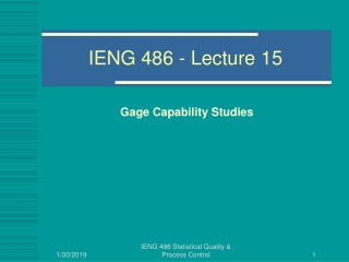 IENG 486 - Lecture 15