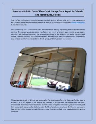 American Roll-Up Door Offers Quick Garage Door Repair in Orlando and Jacksonville, Florida