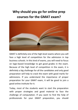 Why should you go for online prep courses for the GMAT exam