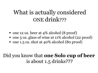 What is actually considered  ONE  drink ???