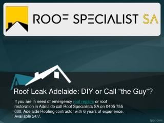 Roof Leak Adelaide: DIY or Call