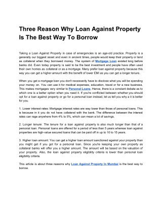 Three Reason Why Loan Against Property Is The Best Way To Borrow