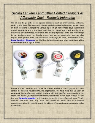 Selling Lanyards and Other Printed Products At Affordable Cost