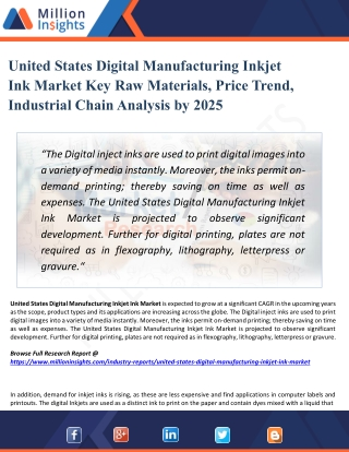 United States Digital Manufacturing Inkjet Ink Market Overview, Analysis Research Report 2025
