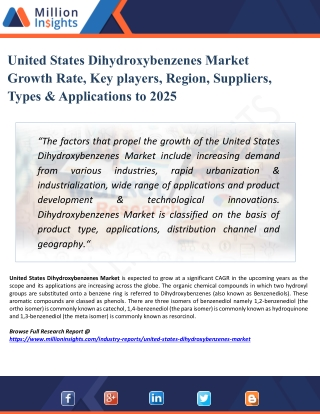 United States Dihydroxybenzenes Market Size, Share, Growth, Trends, and Forecasts 2025