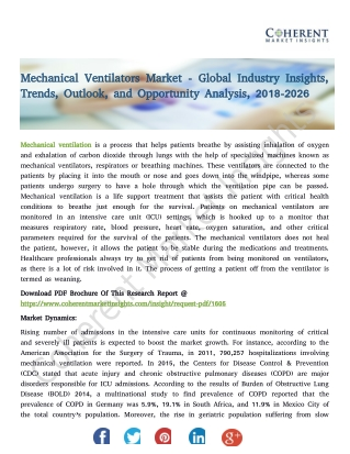 Mechanical Ventilators Market - Global Industry Insights, Trends, Outlook, and Opportunity Analysis, 2018-2026