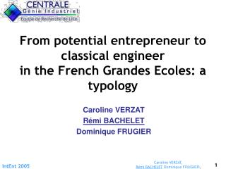 From potential entrepreneur to classical engineer  in the French Grandes Ecoles: a typology