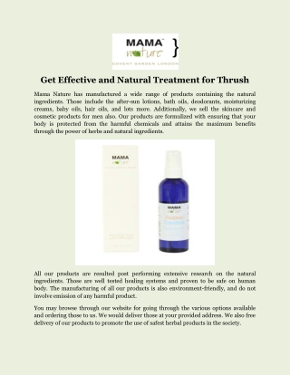 Get Effective and Natural Treatment for Thrush