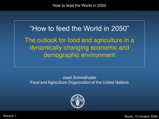 """How to feed the World in 2050"" The outlook for food and agriculture in a dynamically changing economic and demograp"