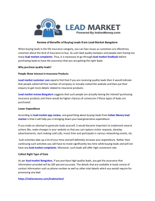 Review Of Benefits Of Buying Leads From Lead Market Bangalore