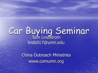 Car Buying Seminar